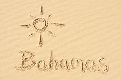 Bahamas in the Sand. A picture of the sun and the word Bahamas drawn in the sand Royalty Free Stock Photos