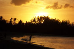 Bahamas solnedgång Arkivbild