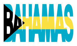 Bahamas text with flag Stock Images