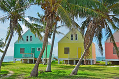 Bahamas Cottages. A tropical seascape photo of a line of colorful seaside houses and palm trees turquoise water behind them. Photo was taken on Green Turtle Cay Royalty Free Stock Photos