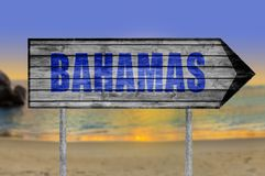 Bahamas wooden sign with beach background. Close up sign in nature stock photography