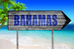 Bahamas wooden sign with beach background. On sunny day close royalty free stock images