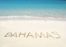 BAHAMAS writing on the beach Stock Photo