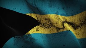 Bahamas grunge dirty flag waving on wind. Bahamian background fullscreen grease flag blowing on wind. Realistic filth fabric texture on windy day Royalty Free Stock Photos