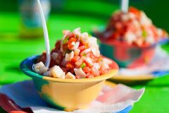 Bahamian conch salad. Two bowls of Bahamian conch salad Royalty Free Stock Photos