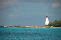 Bahamian Lighthouse. Red and white Bahamian Lighthouse in Nassau Stock Photo