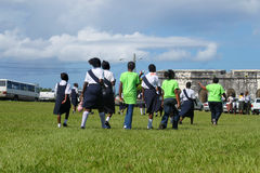 Bahamian students in uniform royalty free stock image