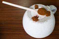 Baharat. Spice on white ceramic bowl and wooden spoon Royalty Free Stock Photos