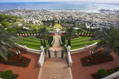 Bahay sacred places, Haifa and Mediterranean sea Royalty Free Stock Photography