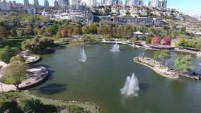 Bahcesehir池塘寄生虫视图在伊斯坦布尔Basaksehir 影视素材