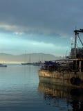 Bahia de todos santos. Dec 29, 2003 6:00 am Fishing boat docked for repairs at Puerto De Ensenada stock image