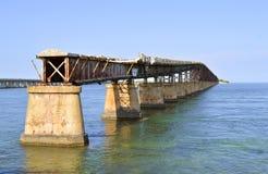 Bahia Honda Key road and Rail Bridge stock images