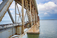 Bahia Honda Rail Bridge. Ruins of the Bahia Honda Rail Bridge in the Florida Keys Stock Image