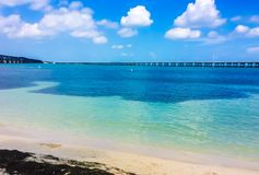 Bahia Honda state park with bridge royalty free stock photos