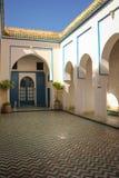 Bahia Palace Binnen werf marrakech marokko royalty-vrije stock fotografie