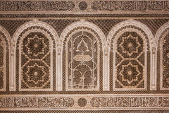 Bahia Palace. Detail.  Marrakesh . Morocco. Bahia Palace. architectural detail of the walls with geometric patterns and arabic scripting.  Marrakesh . Morocco Royalty Free Stock Photo