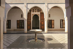 Bahia Palace. inner yard.  Marrakesh . Morocco. Bahia Palace. inner yard and fountain  Marrakesh . Morocco Stock Photos