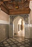 Bahia Palace. interior.  Marrakesh . Morocco. Bahia Palace. decorative detail of the doorways and walls with tiles and geometric patterns.  Marrakesh . Morocco Stock Images