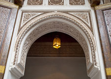 Arch in the Bahia palace of Marrakech. The Bahia Palace is a palace and a set of gardens located in Marrakech, Morocco. It was built in the late 19th century Royalty Free Stock Photos