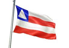 Bahia state of Brazil Flag waving isolated on white background realistic 3d illustration vector illustration