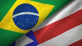 Bahia state and Brazil flags textile cloth, fabric texture. Bahia state and Brazil folded flags together royalty free illustration