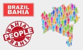 Bahia State Map Population Demographics e filigrana de borracha ilustração do vetor