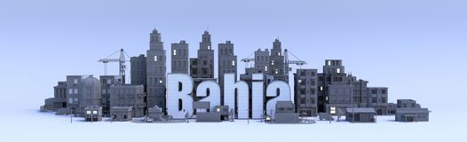 Bahia word, text name of the city in middle of buildings, 3d render. Bahia text, word name of the city in middle of buildings, 3d render Royalty Free Stock Images