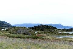 Bahia Wulaia es una bahía en la orilla occidental de Isla Navarino a lo largo de Murray Channel en Chile meridional extremo Imágenes de archivo libres de regalías