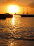 Bahiaibe. Sunscape in  bahia with fishing ship Royalty Free Stock Image