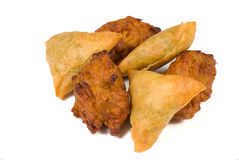 Bahjis and samosa Stock Photos