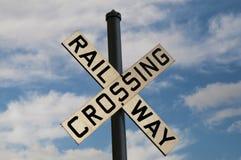 Bahnüberfahrt-Zeichen Stockfoto