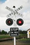 Bahnüberfahrt-Zeichen Stockfotos