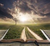 Bahn auf einer Bibel Stockfotografie