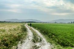 Bahn herauf den Hügel gegen den Himmel Mann lief weg Mann, der auf Straße geht Feld mit grünem und gelbem Gras azerbaijan Lizenzfreie Stockfotos