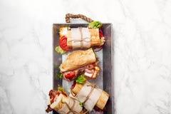 bahn mi被称呼的新鲜的长方形宝石三明治 库存图片