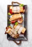 bahn mi被称呼的新鲜的长方形宝石三明治 库存照片