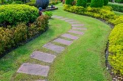 Bahn mit grünem Gras im Garten Stockbild
