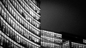 The Bahn Tower, Potsdamer Platz, Berlin, Germany. Late night view of the Bahn Tower, a contemporary office building in Potsdamer Platz, Berlin, illuminating the Royalty Free Stock Images