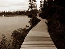 Bahn um Teich Stockfotos