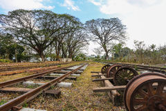 Bahn- und alte Räder Stockbild