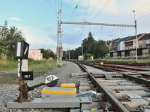 Bahnabstellgleis stockfotos