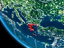 Bahnansicht von Griechenland nachts Stockfoto