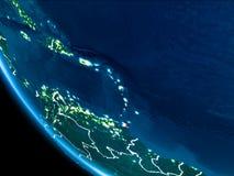 Bahnansicht von Karibischen Meeren nachts stockfotografie