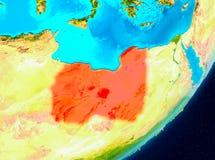 Bahnansicht von Libyen im Rot Stockbild