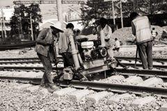 Bahnarbeitskräfte, Bahnwartung Stockfotos