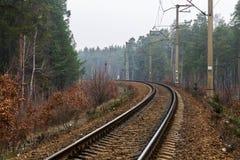Bahnen biegen nach links ab Eisenbahnlinie auf die Waldlange Art Reise Lizenzfreie Stockfotos