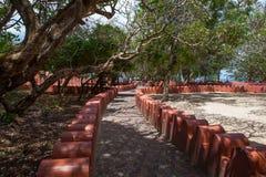 Bahnen in Changuu-Gefängnis-Insel stockfotos