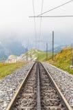 Bahnen des Schweizer Zahnradzugs Stockfoto