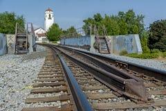 Bahnen führen zu ein Depot für Züge Lizenzfreies Stockbild