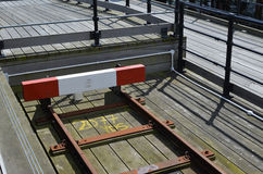 Bahnendpuffer auf einer Schmalspurbahn Stockbilder